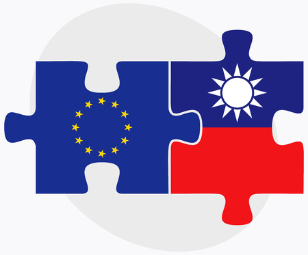 taiwanese: European Union and Taiwan Flags in puzzle isolated on white background