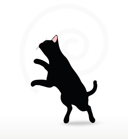 felid: cat silhouette in Jumping pose isolated on white background