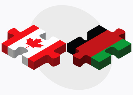 afghan: Canada and Afghanistan Flags in puzzle  isolated on white background