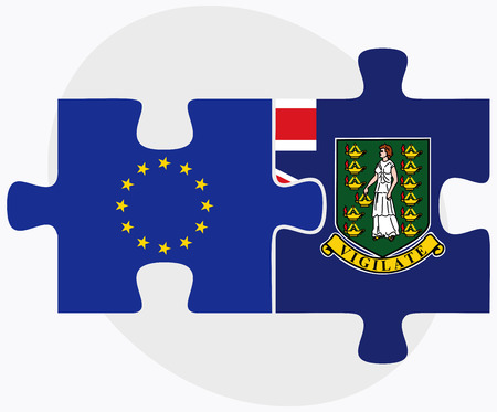 virgin islands: European Union and Virgin Islands (British) Flags in puzzle isolated on white background Illustration