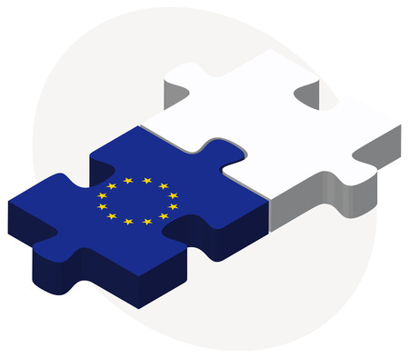 virgin islands: European Union and Virgin Islands (U.S.) Flags in puzzle isolated on white background Illustration