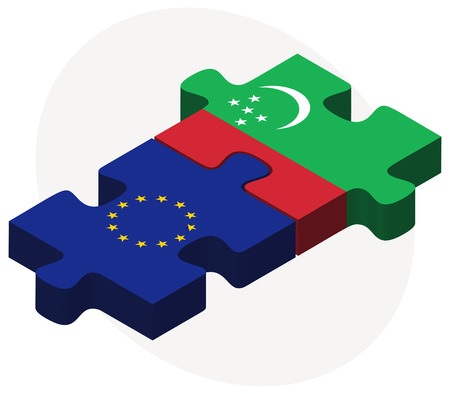 turkmenistan: European Union and Turkmenistan Flags in puzzle isolated on white background Illustration