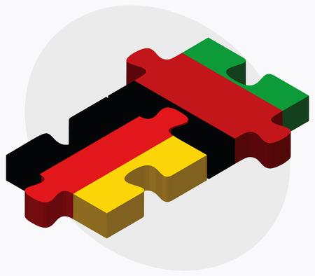 afghane: Deutschland und Afghanistan Flaggen in Puzzle isoliert auf wei�em Hintergrund