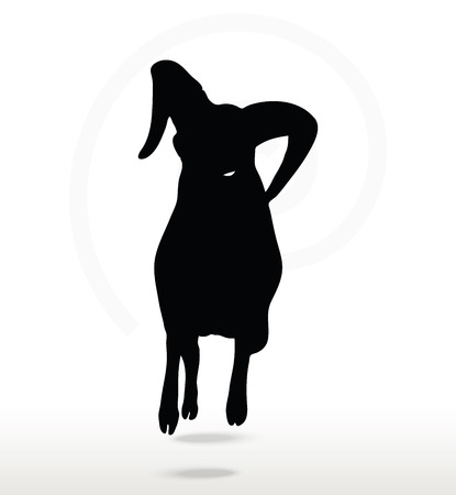 genus: Vector Image - big horn sheep  silhouette in attacking  pose isolated on white background Illustration