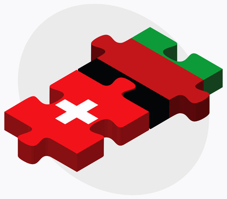 afghan: Switzerland and Afghanistan Flags in puzzle  isolated on white background