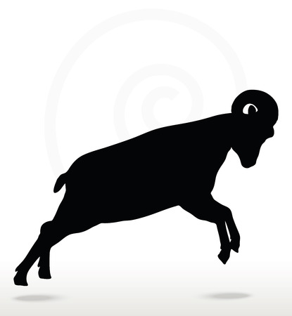attacking: Vector Image - big horn sheep  silhouette in attacking  pose isolated on white background Illustration