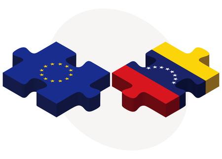 venezuelan: Banderas de la Uni�n Europea y Venezuela en rompecabezas aislados sobre fondo blanco Vectores