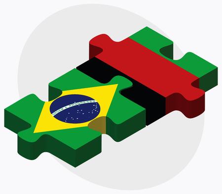 afghane: Brasilien und Afghanistan Flaggen in Puzzle isoliert auf wei�em Hintergrund Illustration