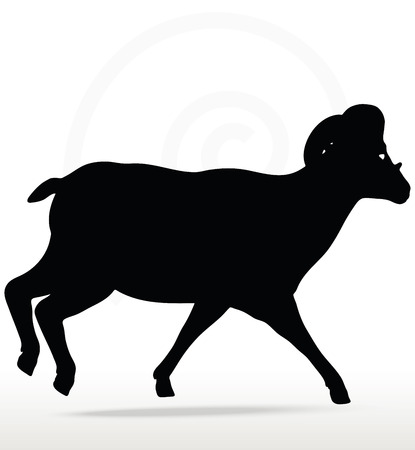 genus: Vector Image - big horn sheep  silhouette in running  pose isolated on white background