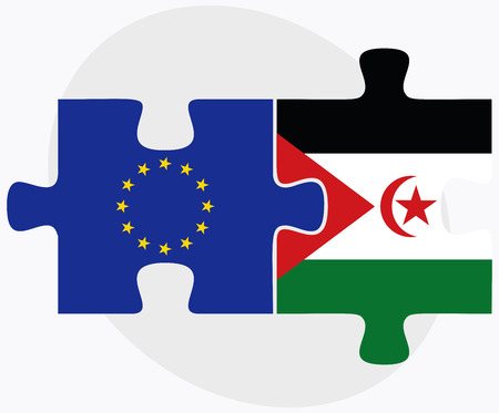 western european: European Union and Western Sahara Flags in puzzle isolated on white background