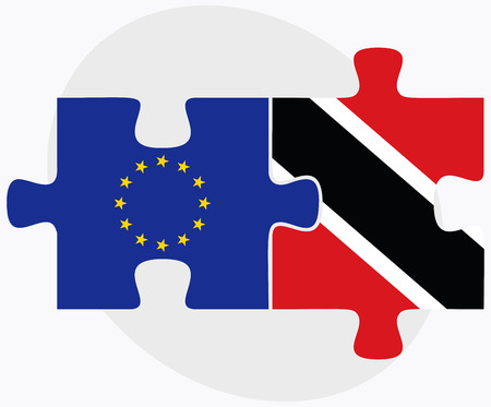 trinidad: European Union and Trinidad and Tobago Flags in puzzle isolated on white background