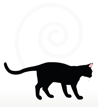 scent: cat silhouette in Rubbing Scent  pose isolated on white background
