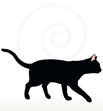 cat silhouette in Walking pose isolated on white background