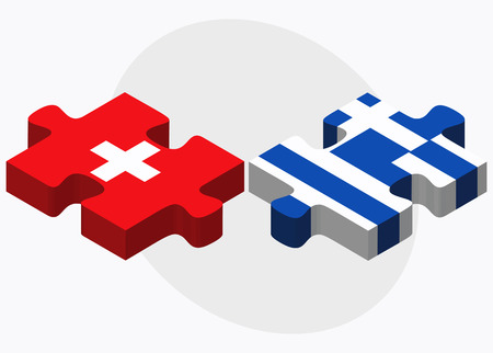 hellenic: Switzerland and Greece Flags in puzzle isolated on white background Illustration