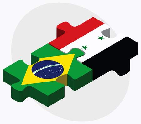 federative republic of brazil: Brazil and Syria Flags in puzzle isolated on white background