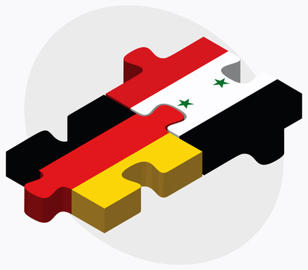 east berlin: Germany and Syria Flags in puzzle isolated on white background Illustration