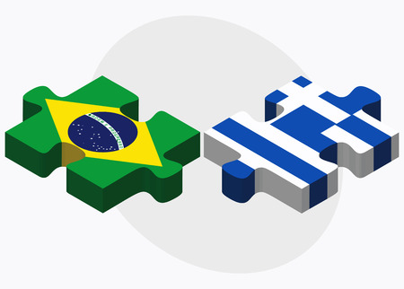 federative republic of brazil: Brazil and Greece Flags in puzzle isolated on white background Illustration