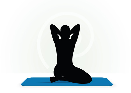 sport mats: Vector Image - Yoga pose isolated on white background