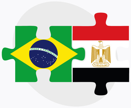 federative republic of brazil: Vector Image - Brazil and Egypt Flags in puzzle isolated on white background