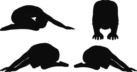 hombres negros: Imagen vectorial - Yoga plantean aislados sobre fondo blanco