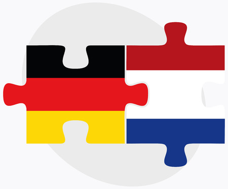 the hague: Vector Image - Germany and Netherlands Flags in puzzle isolated on white background Illustration