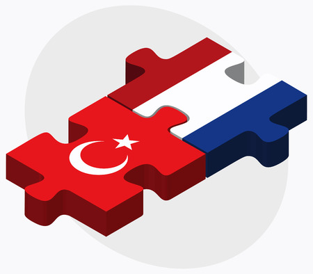 the hague: Vector Image - Turkey and Netherlands Flags in puzzle isolated on white background