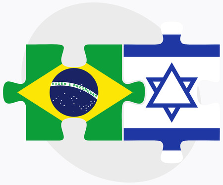 israel people: Vector Image - Brazil and Israel Flags in puzzle isolated on white background