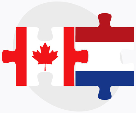 the hague: Vector Image - Canada and Netherlands Flags in puzzle isolated on white background