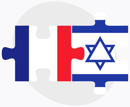 israel people: Vector Image - France and Israel Flags in puzzle isolated on white background