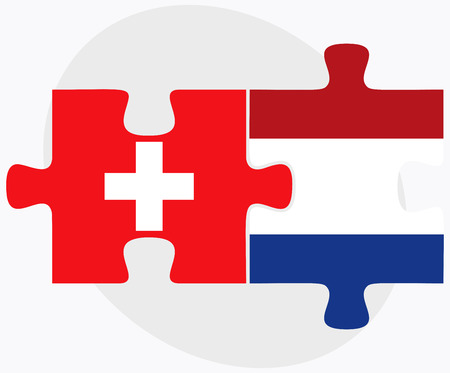 the hague: Vector Image - Switzerland and Netherlands Flags in puzzle isolated on white background