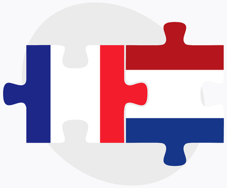 the hague: Vector Image - France and Netherlands Flags in puzzle isolated on white background