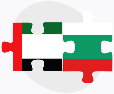 arab flags: Vector Image - United Arab Emirates and Bulgaria Flags in puzzle  isolated on white background