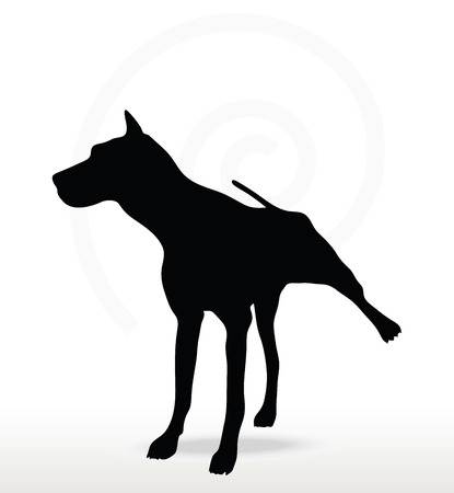 black bitch: Vector Image - dog silhouette in leg raised pose isolated on white background