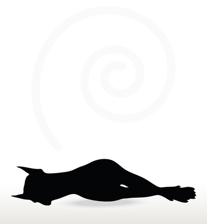 slumberous: Vector Image - dog silhouette in asleep pose isolated on white background