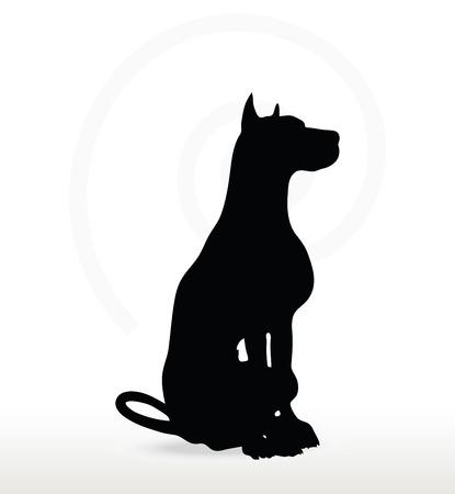 sedentario: Imagen vectorial - silueta del perro en la sentada plantean aislados sobre fondo blanco Vectores
