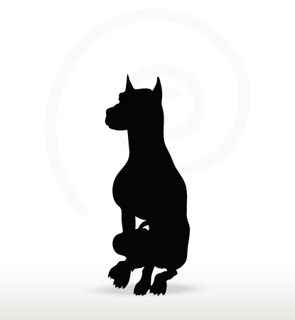 sedentary: Vector Image - dog silhouette in sitting pose isolated on white background