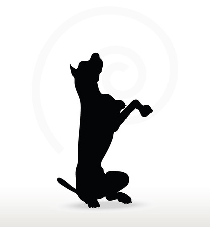 Vector Image - dog silhouette in beg pose isolated on white background Illustration