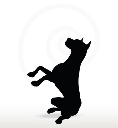 beg: Vector Image - dog silhouette in beg pose isolated on white background Illustration