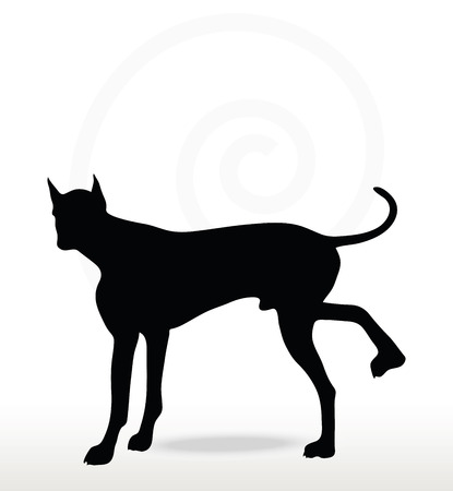stray: Vector Image - dog silhouette in leg raised pose isolated on white background