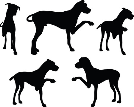 shake hands: Vector Image - dog silhouette in shake hands pose isolated on white background