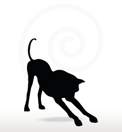 mutt: Vector Image - dog silhouette in stretch pose isolated on white background