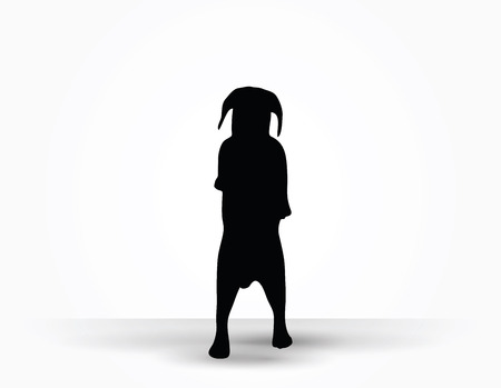 black bitch: Vector Image - dog silhouette in default pose isolated on white background