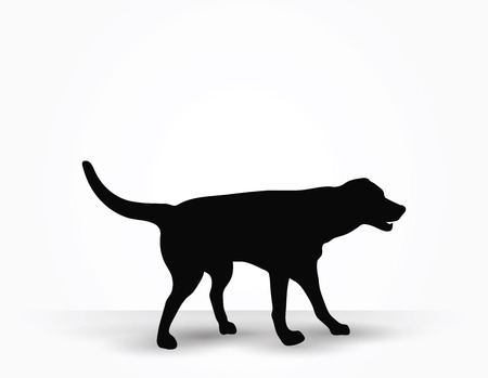 mans best friend: Vector Image - dog silhouette in default pose isolated on white background