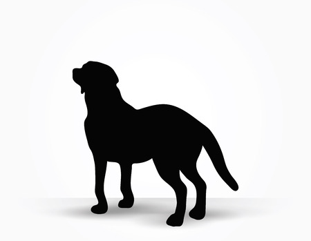 Vector Image - dog silhouette in default pose isolated on white background