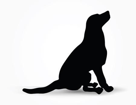siluetas de animales: Imagen vectorial - silueta del perro en su defecto plantean aislados sobre fondo blanco