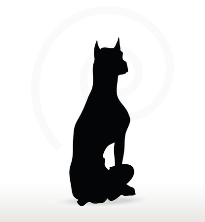 pooch: Vector Image - dog silhouette in sitting pose isolated on white background