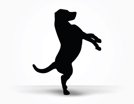 default: Vector Image - dog silhouette in default pose isolated on white background