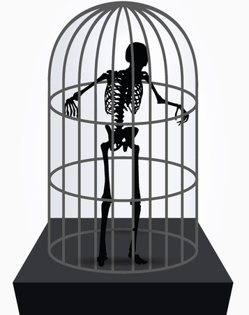 bull pen: Vector Image - skeleton silhouette in standing in cage pose isolated on white background