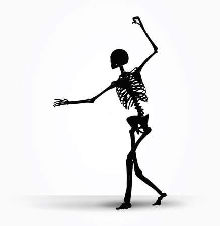 brooding: Vector Image - skeleton silhouette in intimidating pose isolated on white background