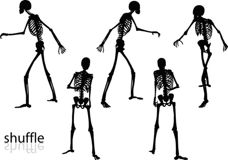 scuff: Vector Image - skeleton silhouette in shuffle pose isolated on white background Illustration
